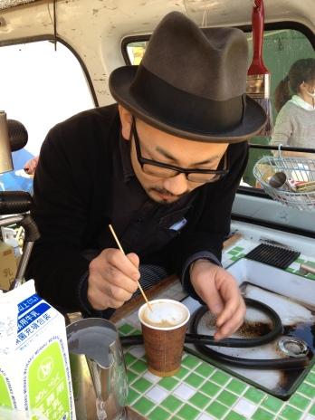 Koyo working his coffee art magic