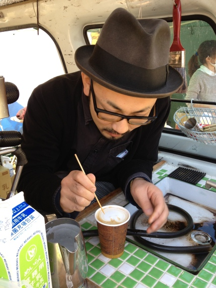 Koyo working his coffee art magic