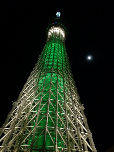 Sky Tree lit up to look like a giant tree
