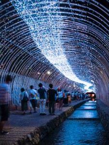 The milky way at the Tanabata festival near Nijojo Castle in Kyoto