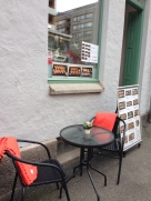 They leave blankets outside at restaurants in case you want fresh air-- but it's so cold.