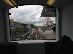 The trains have no drivers, just windows