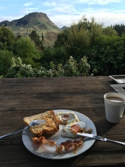 Breakfast from our cottage in Hastings
